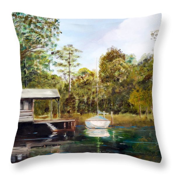 Waccamaw River Sloop Throw Pillow by Phil Burton
