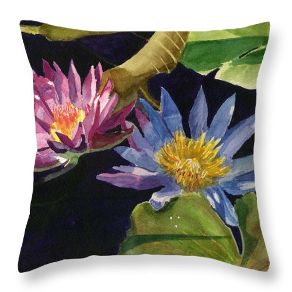 Water Lilies Throw Pillow by Lynne Reichhart