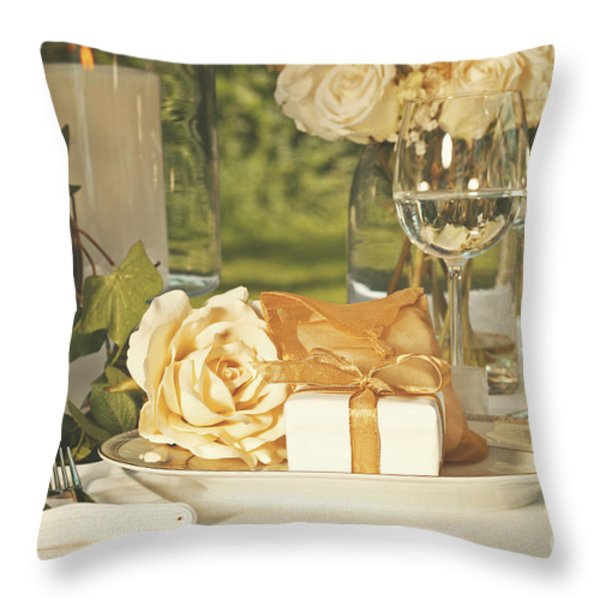 Wedding Party Favors On Plate At Reception Throw Pillow by Sandra Cunningham