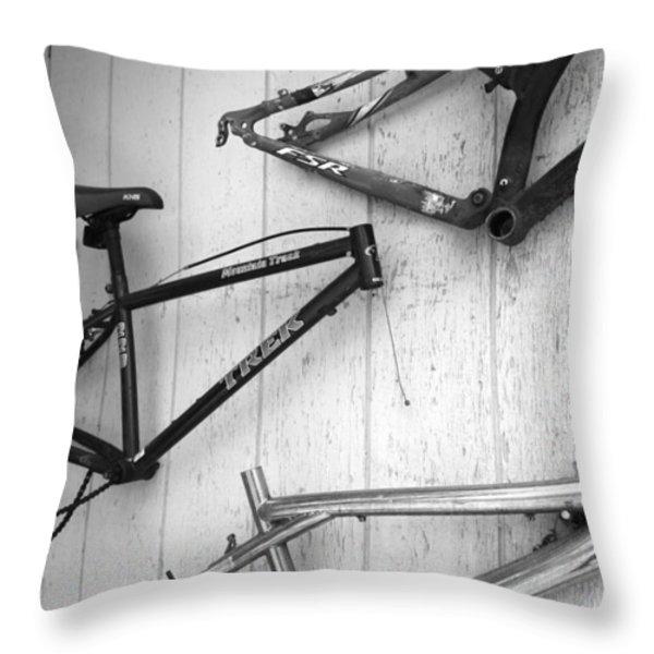 Well Worn Mountain Bike Frames Throw Pillow by Gray  Artus