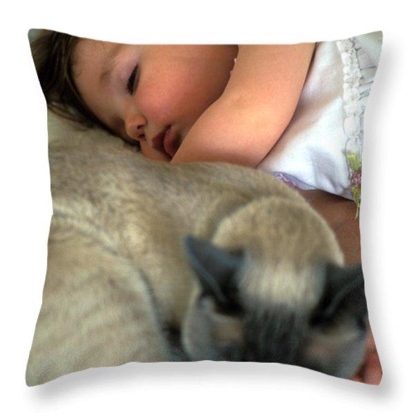 While Baby Sleeps Throw Pillow by Kathy Yates