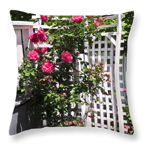 White Arbor In A Garden Throw Pillow by Elena Elisseeva