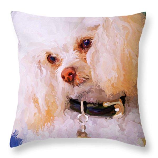 White Poodle Throw Pillow by Jai Johnson