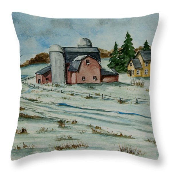 Winter Down On The Farm Throw Pillow by Charlotte Blanchard