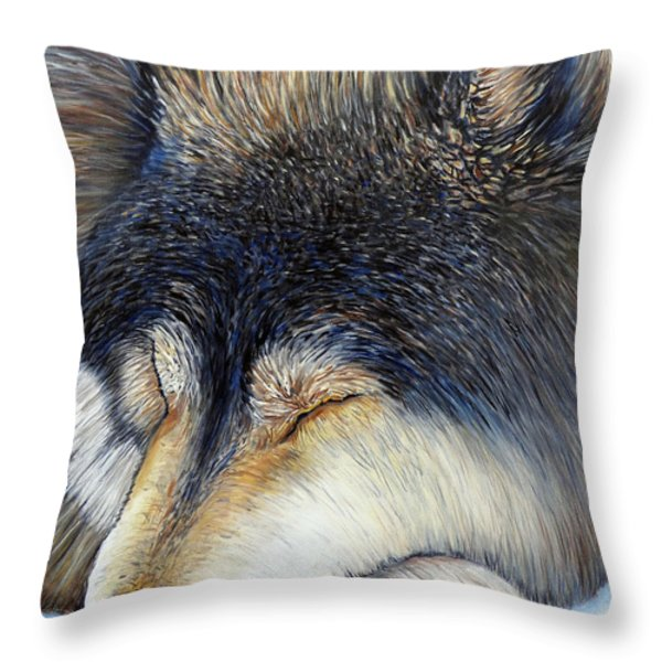 Wolf Dreams Throw Pillow by Brian  Commerford