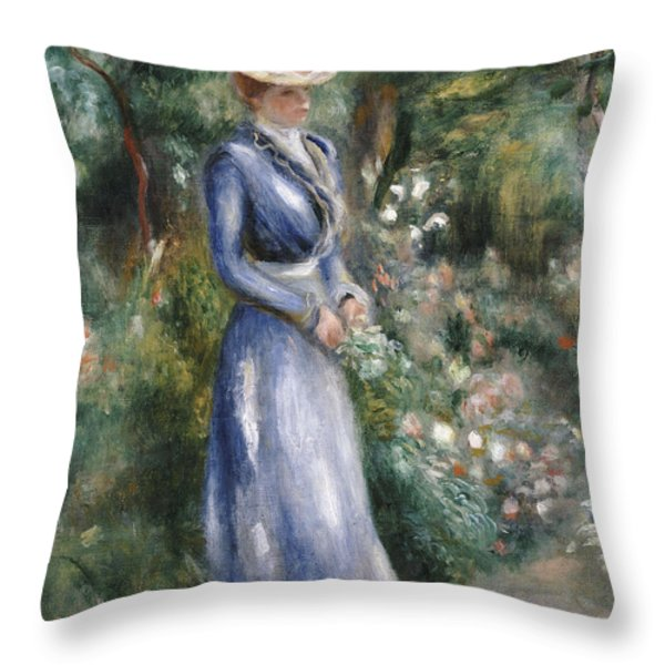 Woman In A Blue Dress Standing In The Garden At Saint-cloud Throw Pillow by Pierre Auguste Renoir