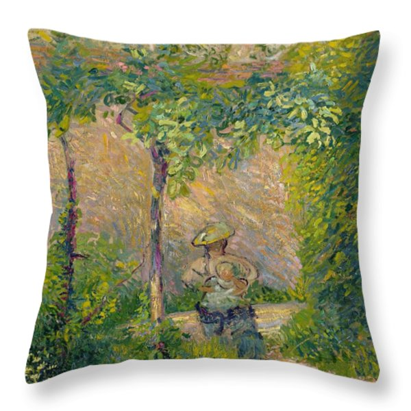 Woman In The Garden Throw Pillow by Hippolyte Petitjean