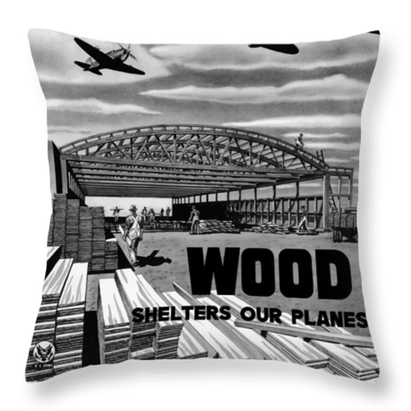 Wood Shelters Our Planes Throw Pillow by War Is Hell Store