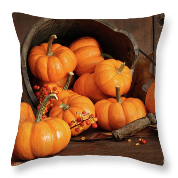 Wooden Bucket Filled With Tiny Pumpkins Throw Pillow by Sandra Cunningham