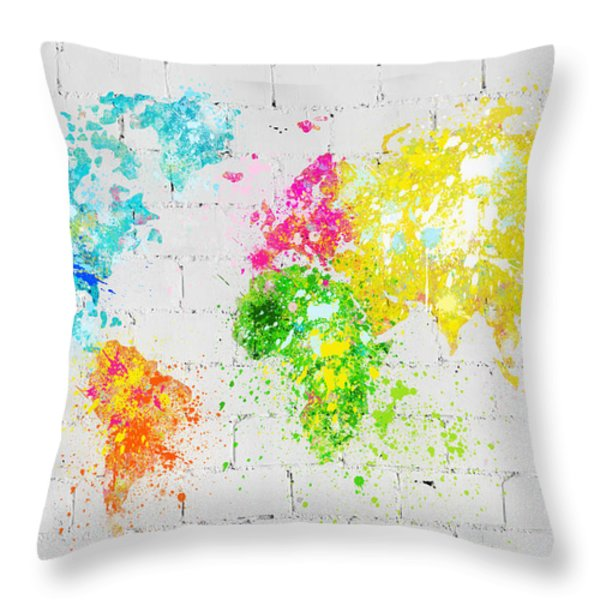 World Map Painting On Brick Wall Throw Pillow by Setsiri Silapasuwanchai