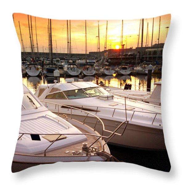Yacht Marina Throw Pillow by Carlos Caetano