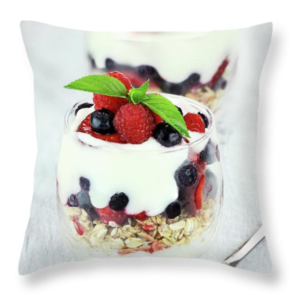 Yogurt Parfait Throw Pillow by Stephanie Frey