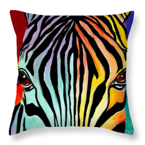Zebra - End Of The Rainbow Throw Pillow by Alicia VanNoy Call