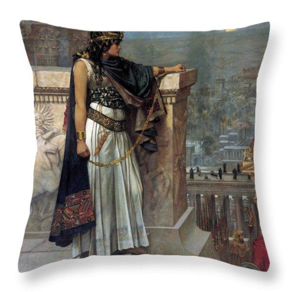 Zenobia's Last Look On Palmyra Throw Pillow by Herbert Gustave Schmalz
