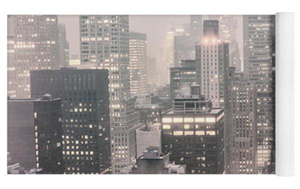 New York City - Snow Covered Skyline Yoga Mat by Vivienne Gucwa