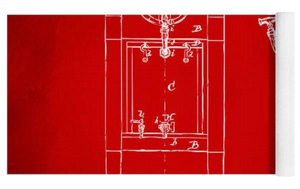 1876 Beer Keg Cooler Patent Artwork Red Yoga Mat