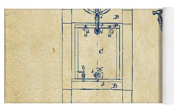 1876 Beer Keg Cooler Patent Artwork - Vintage Yoga Mat
