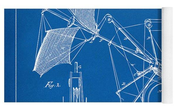 1879 Quinby Aerial Ship Patent Minimal - Blueprint Yoga Mat