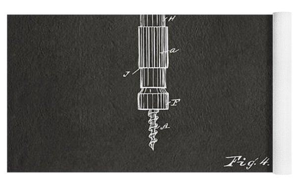 1884 Corkscrew Patent Artwork - Gray Yoga Mat