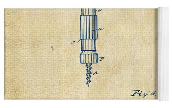 1884 Corkscrew Patent Artwork - Vintage Yoga Mat