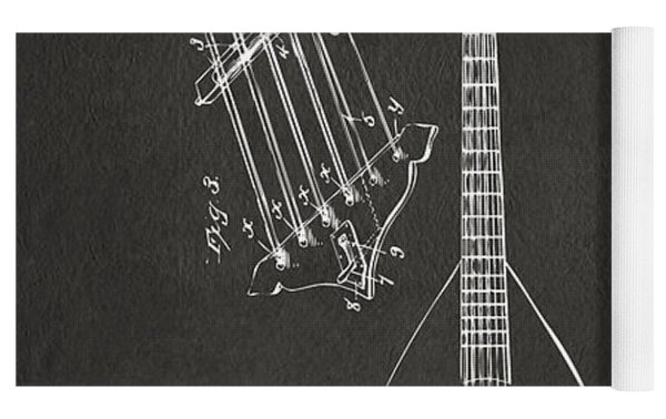 1896 Brown Guitar Patent Artwork - Gray Yoga Mat