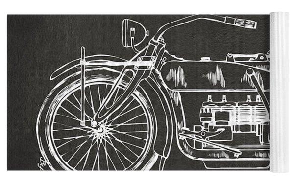 1919 Motorcycle Patent Artwork - Gray Yoga Mat