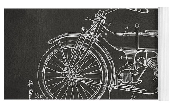 1924 Harley Motorcycle Patent Artwork - Gray Yoga Mat