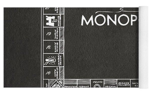1935 Monopoly Game Board Patent Artwork - Gray Yoga Mat