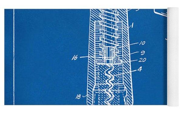 1944 Wine Corkscrew Patent Artwork - Blueprint Yoga Mat