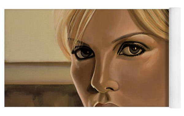 Charlize Theron Painting Yoga Mat by Paul Meijering