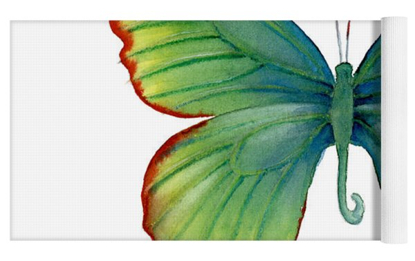 74 Green Flame Tip Butterfly Yoga Mat