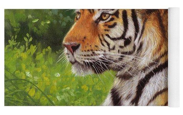 Amur Tiger Painting Yoga Mat by David Stribbling