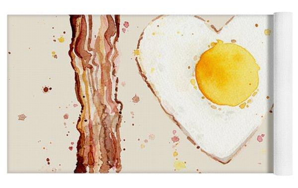 Bacon And Egg I Heart You Watercolor Yoga Mat by Olga Shvartsur