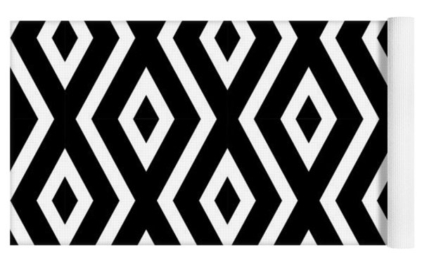 Black And White Pattern Yoga Mat by Christina Rollo