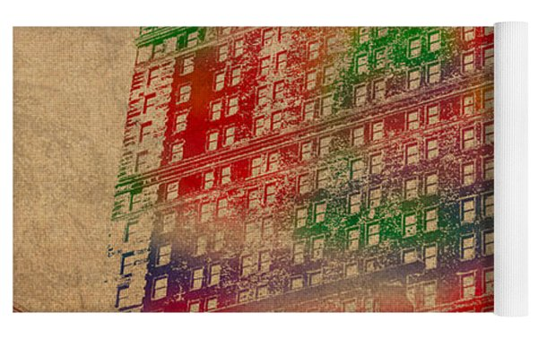 Book Cadillac Iconic Buildings Of Detroit Watercolor On Worn Canvas Series Number 3 Yoga Mat by Design Turnpike