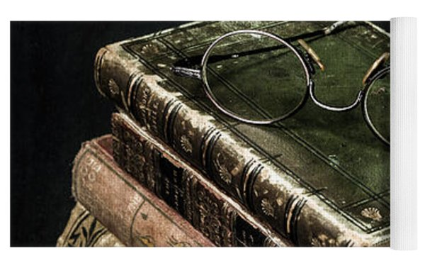 Books With Glasses Yoga Mat