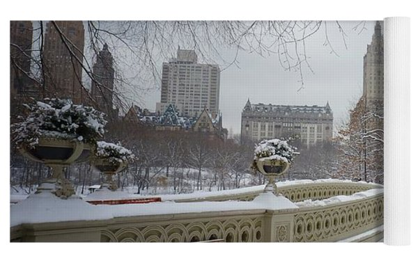Bow Bridge Central Park In Winter  Yoga Mat by Vivienne Gucwa