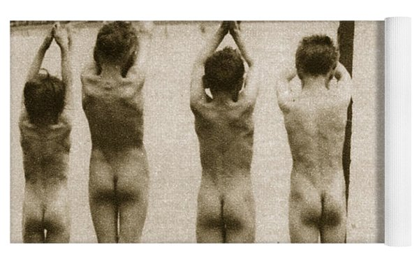 Boys Bathing In The Park Clapham Yoga Mat by English Photographer