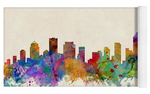 Brisbane Australia Skyline Yoga Mat by Michael Tompsett