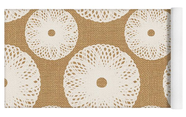 Brown And White Floral Yoga Mat by Linda Woods