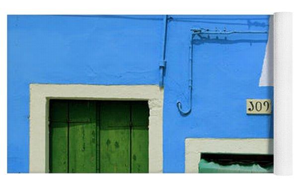 Burano Blue And Green Yoga Mat