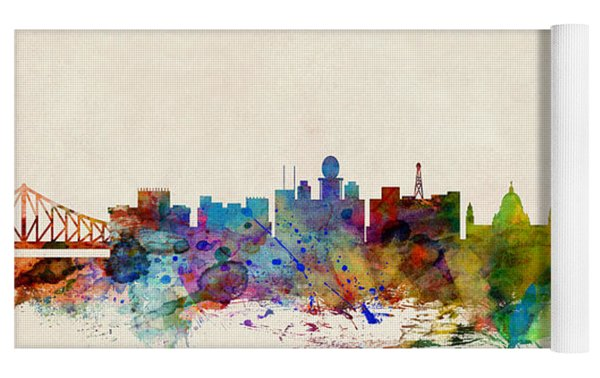 Calcutta India Skyline Yoga Mat by Michael Tompsett