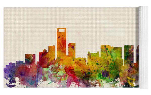 Charlotte North Carolina Skyline Yoga Mat by Michael Tompsett