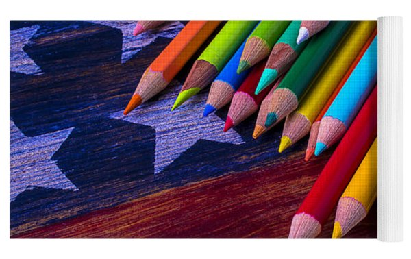 Colored Pencils On Wooden Flag Yoga Mat