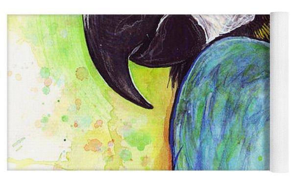 Macaw Painting Yoga Mat by Olga Shvartsur