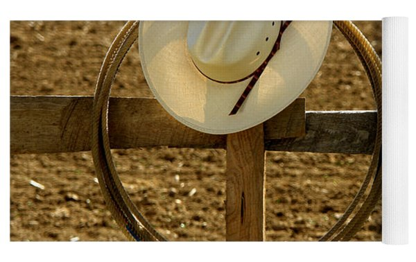 Cowboy Hat And Lasso On Fence Yoga Mat by Olivier Le Queinec