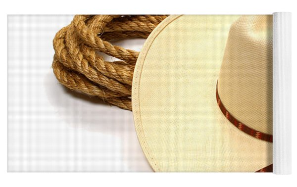 Cowboy Hat And Rope Yoga Mat by Olivier Le Queinec