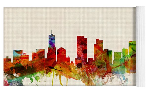 Denver Colorado Skyline Yoga Mat by Michael Tompsett