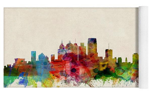 Detroit Michigan Skyline Yoga Mat by Michael Tompsett