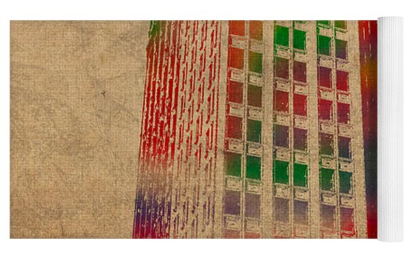 Dime Building Iconic Buildings Of Detroit Watercolor On Worn Canvas Series Number 1 Yoga Mat by Design Turnpike
